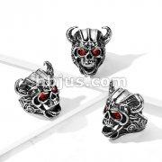 Viking Stainless Steel Skull Ring with Red Gem Eyes
