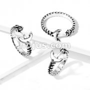 Anchor and Rope Stainless Steel Ring