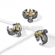 Gold Headed Stainless Steel Eagle Ring