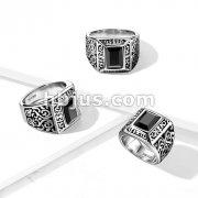 Faceted Rectangular Black Gem on a Vintage Filigree StainlessSteel Ring