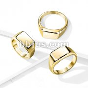 Wide Square Flat To Gold PVD Plated Stainless Steel Ring