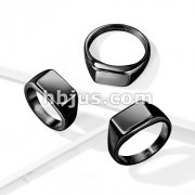 Wide Square Flat Top  Black PVD Plated Stainless Steel Ring