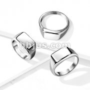 Wide Square Flat To Stainless Steel Ring