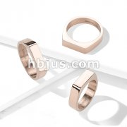 Flat Square Bar Top Rose Gold PVD Over 316L Stainless Steel Rings