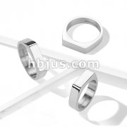 Flat Square Bar Top Mirror Polished 316L Stainless Steel Rings