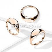 Flat Oval Top Rose Gold PVD Over 316L Stainless Steel Rings