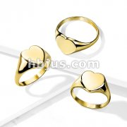 Flat Heart Top Gold PVD Over 316L Stainless Steel Ring