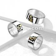 Peeking Gold Skull Centered Stainless Steel Ring