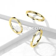 4 CZ Slanted Gold Stainless Steel Ring