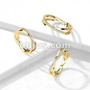 CZ Paved Criss Cross XGold PVD Stainless Steel Ring