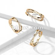 CZ Paved Criss Cross X Rose Gold PVD Stainless Steel Ring