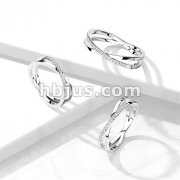 CZ Paved Criss Cross X Stainless Steel Ring