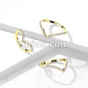 CZ Paved Gold Chevron Stainless Steel Ring