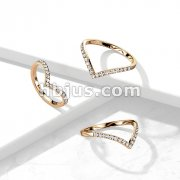 CZ Paved Rose Gold Chevron Stainless Steel Ring