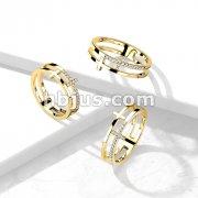 CZ Double Sideways Split Cross Gold Stainless Steel Ring