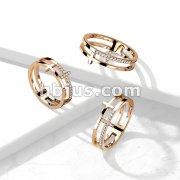 CZ Double Sideways Split Cross Rose Gold Stainless Steel Ring