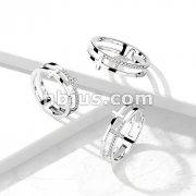 CZ Double Sideways Split Cross Stainless Steel Ring