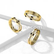 Triple Line Middle CZ Paved Slant Gold PVD Stainless Steel Ring