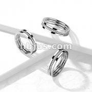 Triple Line Middle CZ Paved Slant Stainless Steel Ring