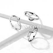 Wave CZ Paved Strikethrough Stainless Steel Ring
