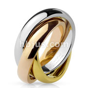 Three Tone Triple Band Rolling Ring 316L Stainless Steel