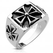 Triple Iron Cross Cast Ring Stainless Steel