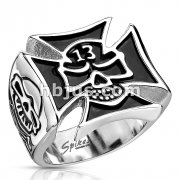 Lucky 13 Skull Cut Out of Celtic Cross Wide Cast Ring Stainless Steel