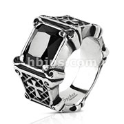 Black Square Gem Set and Crosses on Burnished Black Side Stainless Steel Casting Rings