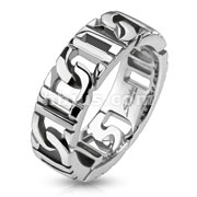 Stainless Steel Linked Square Chain Ring