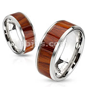 Wood Inlay Stainless Steel Band Ring