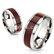 Wood Inlay Stainless Steel Beveled Edge Band Ring