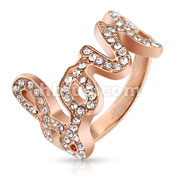 Love with Paved Gems Rose Gold IP Stainless Steel Ring