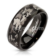 Laser Etched Camouflage Black IP Over Stainless Steel Band Ring