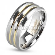 Stainless Steel Three Layered Ring with Gold IP Lines