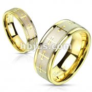 Stainless Steel Multi Celtic Crosses Gold IP Ring with Brushed Center Two Tone Ring