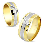 Multi paved Gems Center Gold IP Stainless Steel Ring