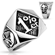 1%er with Skulls on Side Stainless Steel Rings