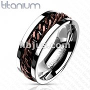 Chain Inlay Coffee IP Solid Titanium