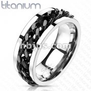 Solid Titanium Ring with Black IP Chain Inlay