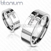 Cross Paved Multi CZs Band Ring Solid Titanium