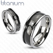 CZ with Black IP Round Center Band Ring Solid Titanium
