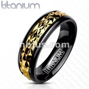 Gold Accented Band on Black Ring Solid Titanium