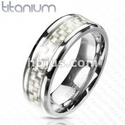 Solid Titanium Silver Carbon Fiber Inlay Center Band Ring