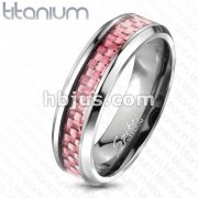 Solid Titanium Pink Carbon Fiber Inlay Band Ring