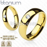 Solid Titanium Gold IP Wide Classic Band Ring with Single CZ