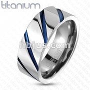 Solid Titanium Blue Enamel Striped Band Ring