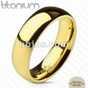 Classic Gold IP Solid Titanium Dome Band Ring
