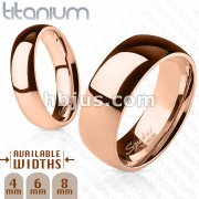 Solid Titanium Rose Gold IP Wide Classic Band Ring