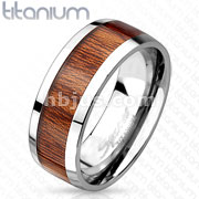 Wood Print Inlay Tow Tone Titanium Ring