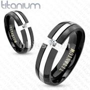 Solitaire CZ in Center Cut Two Tone Black IP Titanium Couple Ring